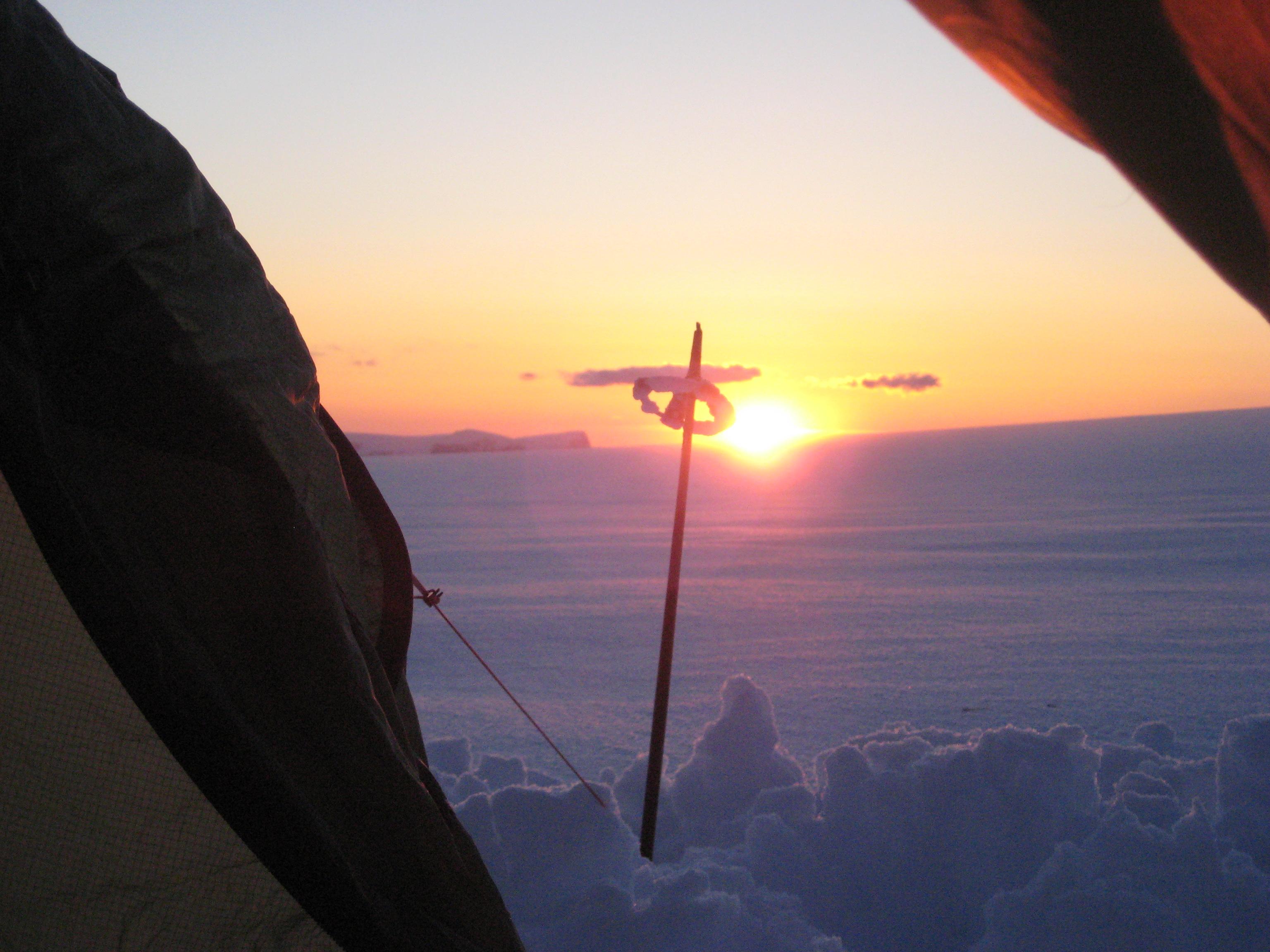 Solnedgang på breen
